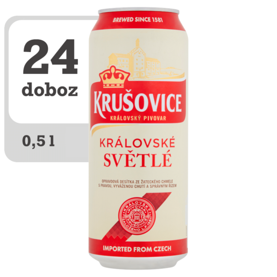 Krušovice Světlé eredeti cseh import világos sör 4,2% 0,5 l doboz x 24