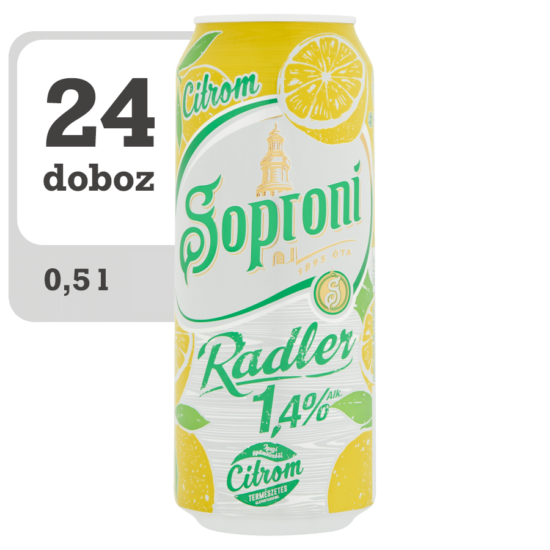 Soproni Radler citromos sörital 1,4% 0,5 l doboz x 24